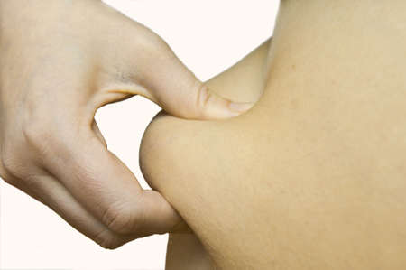 hand is measuring body fat Stock Photo