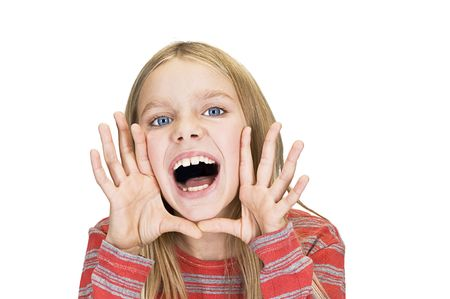 screaming and smiling young girl photo