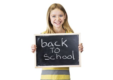 young girl is back to school Stock Photo