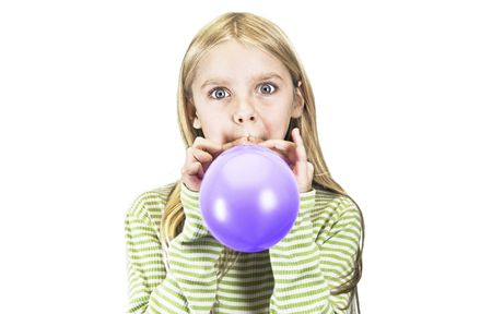 blond girl with a blue balloon .. Stock Photo - 4947473