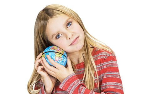 young girl care about the world Stock Photo - 4947475