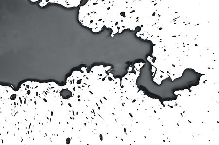 wet black paint on white background