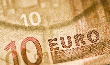 one ten euro bill marcro shot, European Union Currency Stock Photo