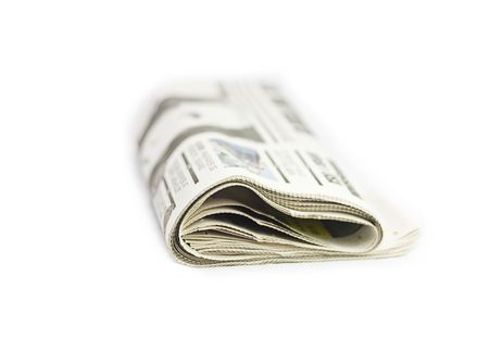 Folded Newspaper isolated on a White background