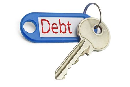 the key to debt on a white background
