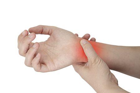 femal wrist Injury isolated on white background