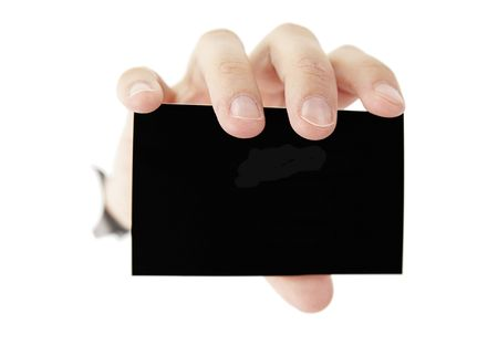 A female hande is holding a black blank business card Stock Photo - 5424843