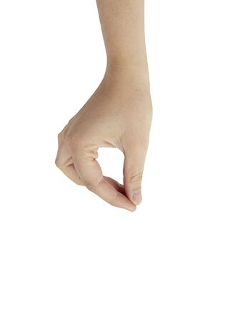 Hand with thumb and forefinger together simulating holding or picking something up, isolated on white background. Stock Photo - 5498738