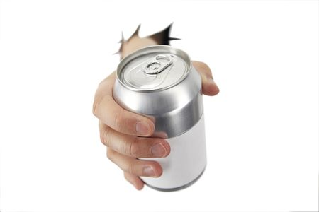 aluminum cans: hand is bracking paper with a can