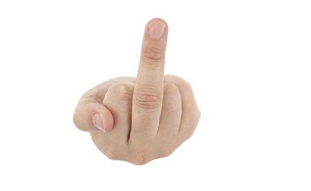 dedo �ndice: mano de ruptura a trav�s de tarjeta blanca dando insulto dedo medio Foto de archivo