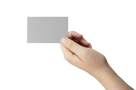 A female hande is holding a gray blank business card Stock Photo - 5433724