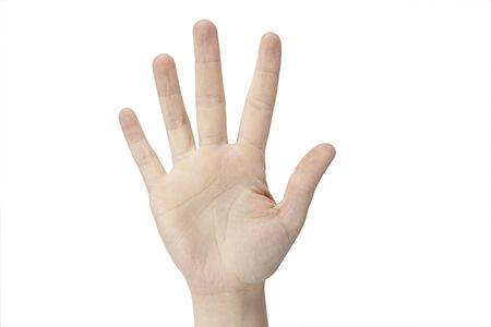 A female hand is counting five  on a white background Stock Photo - 5433723