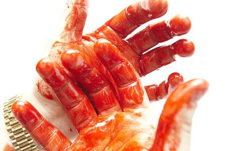 some bloody hands on a white background
