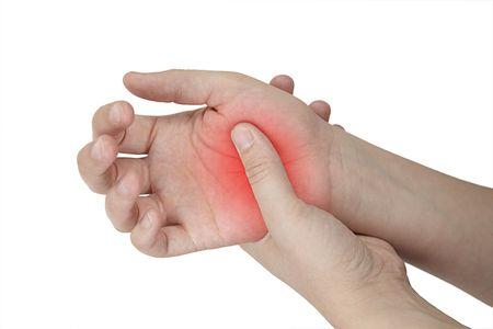femal hand Injury isolated on white background Stock Photo