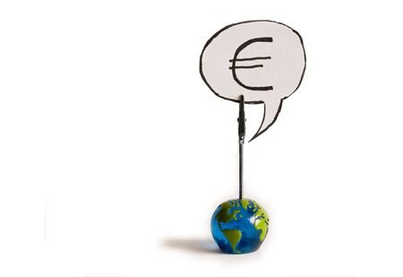 euro Currency Symbol on a globe on a white background Stock Photo