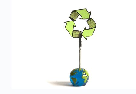 questioned: recycling note on a globe on a white background Stock Photo