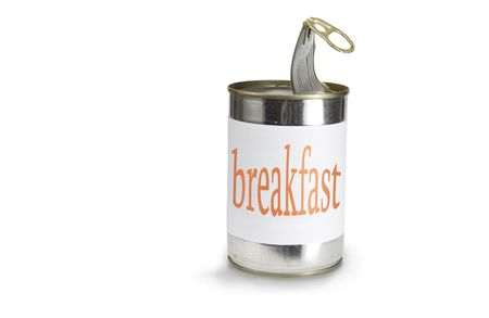 pulltab: a food can with a breakfast label isolated on white