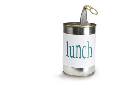 pulltab: a food can with a lunch label isolated on white