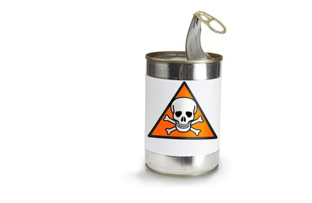 damaging: skull Warning Symbol on a can on a white background