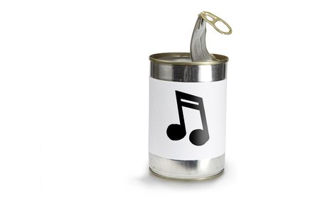 Musical Note Symbol on a can on a white background photo