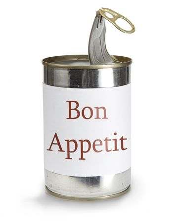 can with bon appetit label on a white background Stock Photo - 6387037
