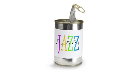 pulltab: Musical Note Symbol a cross jazz on a can on a white background Stock Photo