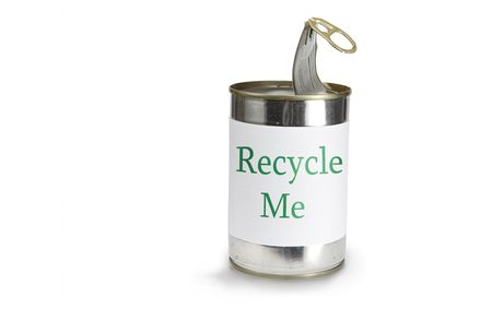 recycle me tekst on a can on a white background Banco de Imagens