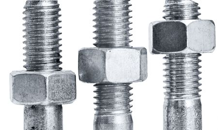 nuts on  screws on a white background