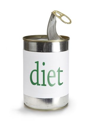 a food can with a diet label isolated on white Stock Photo