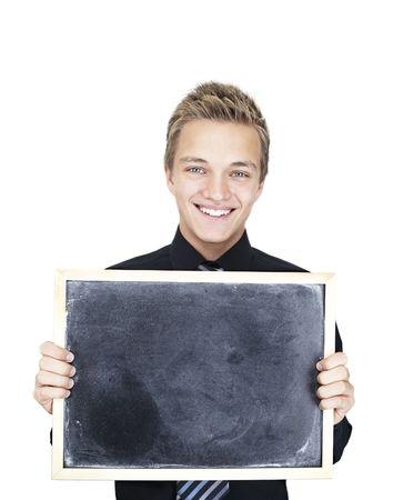 blond Beautiful Caucasian teen boy with blackboard