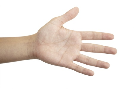 open hand on a white background Stock Photo