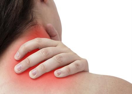 epaule douleur: femal ayant cou et à se donner et de massage