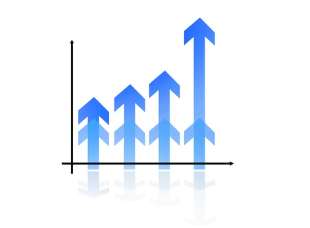 Blue Bar Graph with reflexion pointing up
