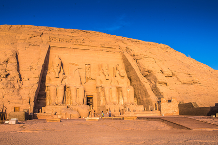 The Great Temple of Ramesses II on the sunrise, Abu Simbel, Egypt