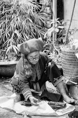 sapa: SAPA, VIETMAN - SEP 22, 2014: Unidentified Hmong woman in traditional dress in Sapa, Vietnam. Hmong is a minority ethnic group of Vietnam Editorial