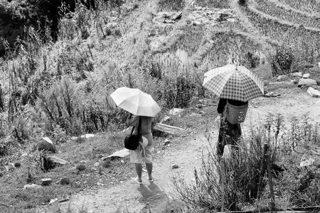 sapa: SAPA, VIETMAN - SEP 22, 2014: Unidentified Hmong women with umbrellas in Sapa, Vietnam. Hmong is a minority ethnic group of Vietnam