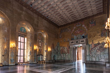 STOCKHOLM, SWEDEN - SEP 7, 2014: Stockholm City Hall, Sweden. It is the venue of the Nobel Prize banquet and one of Stockholms major tourist attractions.