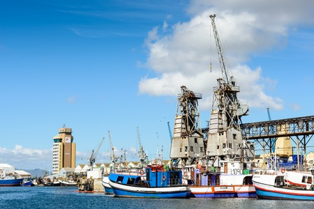 CAPE TOWN, SOUTH AFRICA - FEB 22, 2013: View of the Port of Cape Town, South Africa. Cape town is the most popular international touristic destination in Africa