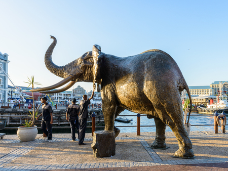 sea life centre: CAPE TOWN, SOUTH AFRICA - FEB 22, 2013: Elephant Statue of Cape Town, South Africa. Cape town is the most popular international touristic destination in Africa Editorial