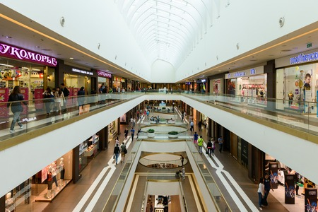 centres: SAINT PETERSBURG, RUSSIA - AUGUST 14, 2014: Commercial center Galery in Saint Petersburg. One of the biggest commercial centres in the city, opened on Nov 25, 2010
