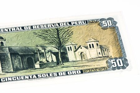 and soles: 50 soles de oro bank note. Soles de oro is the national currency of Peru
