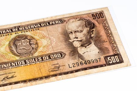 and soles: 500 soles de oro bank note. Soles de oro is the national currency of Peru Stock Photo