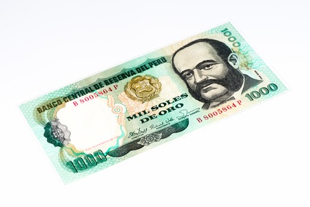 and soles: 1000 soles de oro bank note. Soles de oro is the national currency of Peru Stock Photo