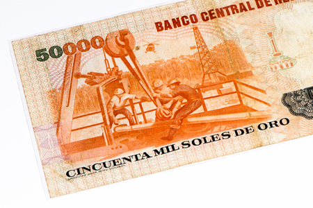 and soles: 50000 soles de oro bank note. Soles de oro is the national currency of Peru Stock Photo