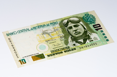and soles: 10 soles nuevos bank note. Soles nuevos is the national currency of Peru Stock Photo