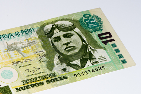 10 soles nuevos bank note. Soles nuevos is the national currency of Peru Stock Photo