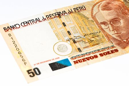 and soles: 50 soles nuevos bank note. Soles nuevos is the national currency of Peru