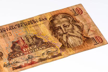 10 lempiras de billets de banque. Lempira est la monnaie nationale du Honduras Banque d'images