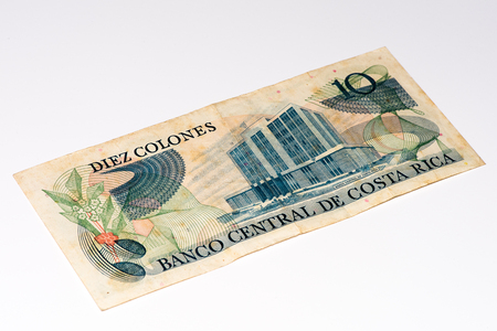 costa rican: 10 Costa Rican colones bank note. Colones is the national currency of Costa Rica Stock Photo