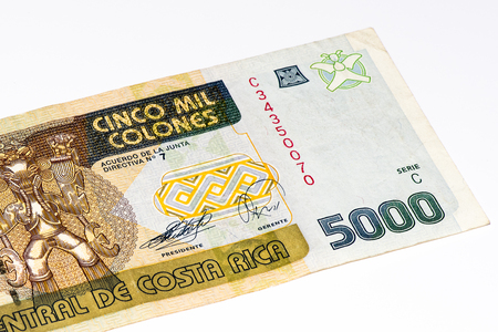 costa rican: 5000 Costa Rican colones bank note. Colones is the national currency of Costa Rica Stock Photo